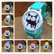 цена на 2015 New Famous Brand Geneva Cat Children Cartoon Jelly Quartz Watch Kids Casual Silicone Watches Relogio Clock Wristwatches Hot