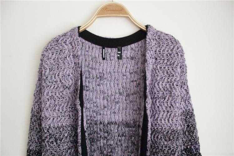 34b04db45e Celebrity Sweater Female Star Gradient Long Stitching Knit Cardigans ...