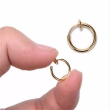 win Hot selling 2 Piece Fake Nose Ring Goth Punk Lip Ear Nose Clip On Fake Septum Piercing Nose Ring Hoop Lip Hoop Rings Earring(China)