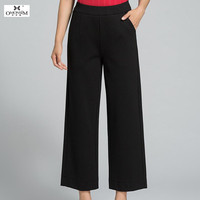 OMONSIM Autumn Korean Style Ladies Slim Panties Thin High Waist Trousers Female Black Leisure Plus Size