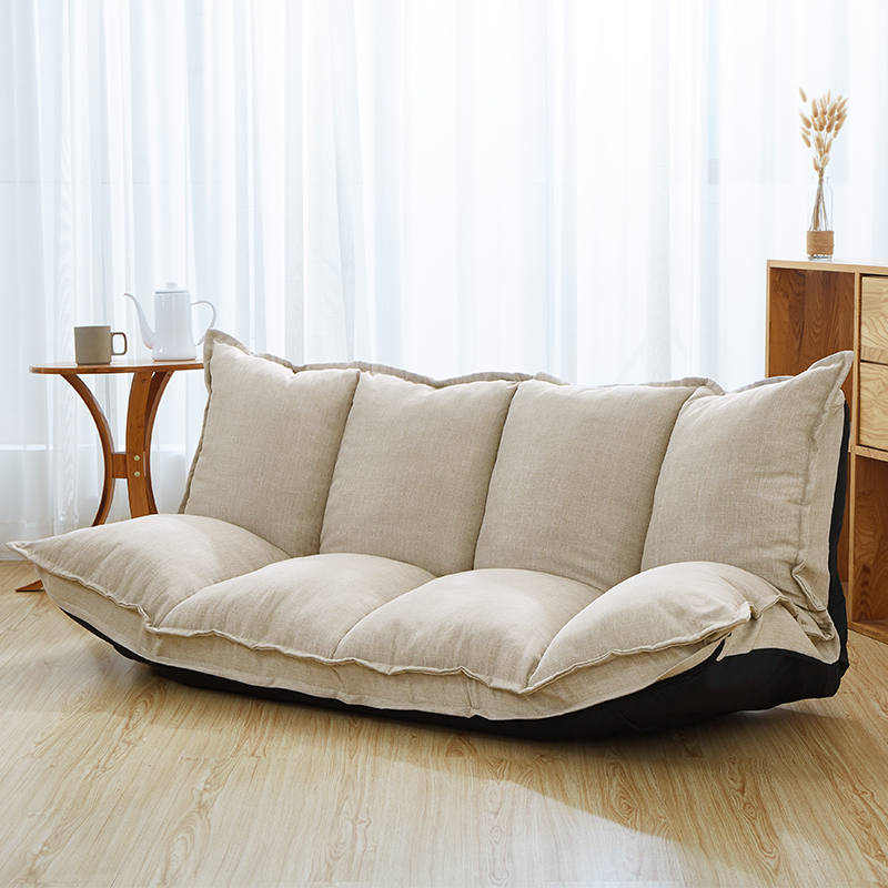 Linen Fabric Upholstery Adjustable Floor Sofa Bed Lounge Sofa Sleeper Floor Lazy Couch Living Room Furniture Video Gaming Sofa image
