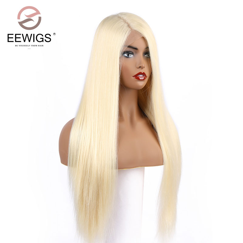 EEWIGS 13*6 Lace Frontal Synthetic Wigs Platinum Blonde Silky Straight Costume Wigs Long Synthetic Lace Front Wig Full for Women