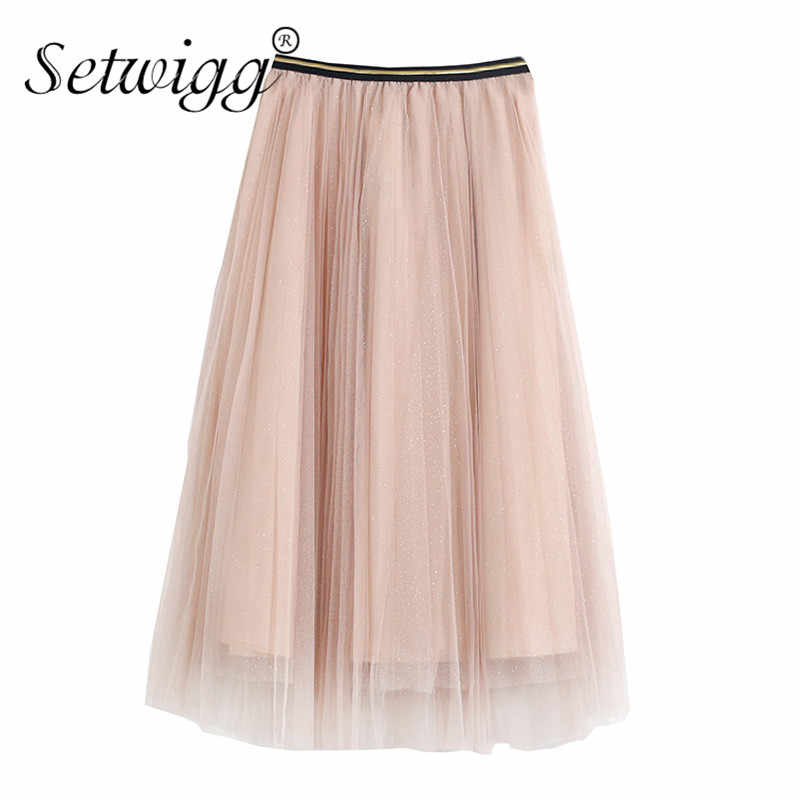 40362c0df ... SETWIGG Spring Metallic Dotted Tulle Long Pleated Skirts Metallic  Elastic Waist Band Sequined Shiny Mid- ...