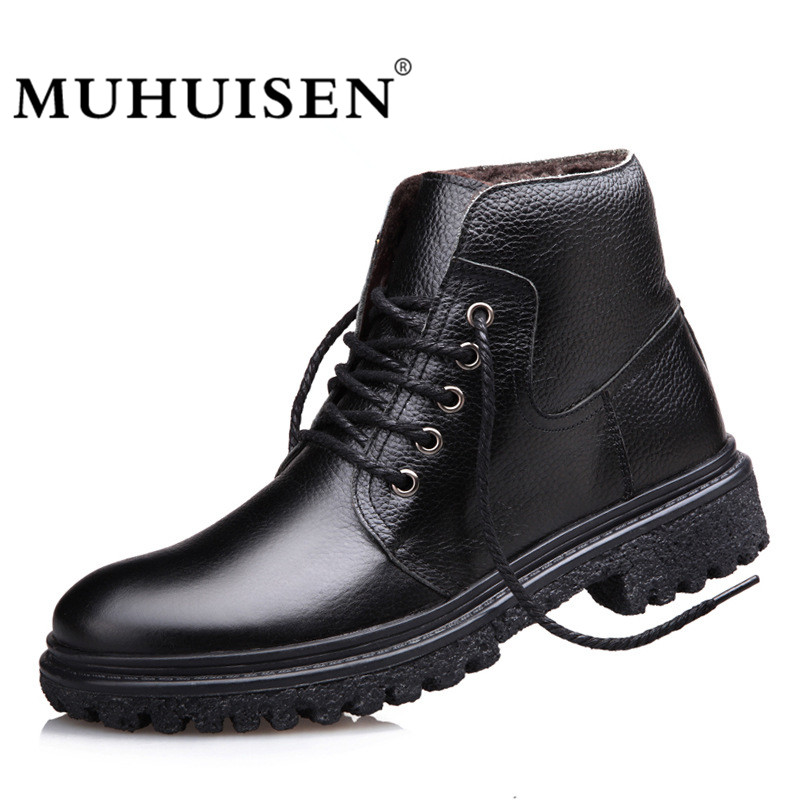 MUHUISEN Brand Men Genuine Leather Boots Winter Warm Plush Male Motorcycle Boot Real Leather Martin Army Men Ankle Boots [krusdan]british style men autumn winter boots solid casual genuine leather retro boots falts brand red wine male ankle boot