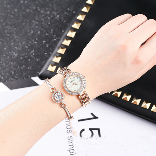2018 2PC Set Famous Brand Luxury Watch Women Fashion Rose Bracelet Watch Set Dre
