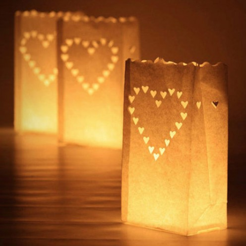 10 Large Hearts Wedding Outdoor Path Tea Light Candle White Paper Bag Lantern