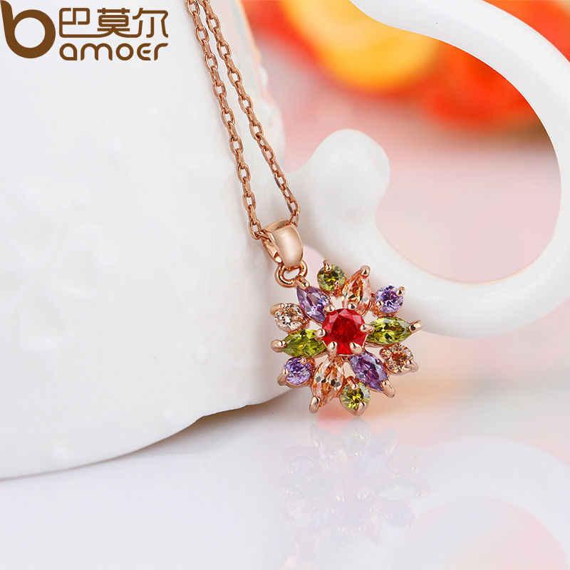 Bamoer Warna Rose Gold Perhiasan Set untuk Wanita dengan Kualitas Tinggi Beraneka Warna AAA Zircon Pernikahan dan Pertunangan Perhiasan ZH017