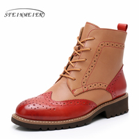 100% Genuine sheepskin Leather Ankle chelsea Boots yinzo lady shoes Handmade red brown oxford shoes for women 2018 winter boots