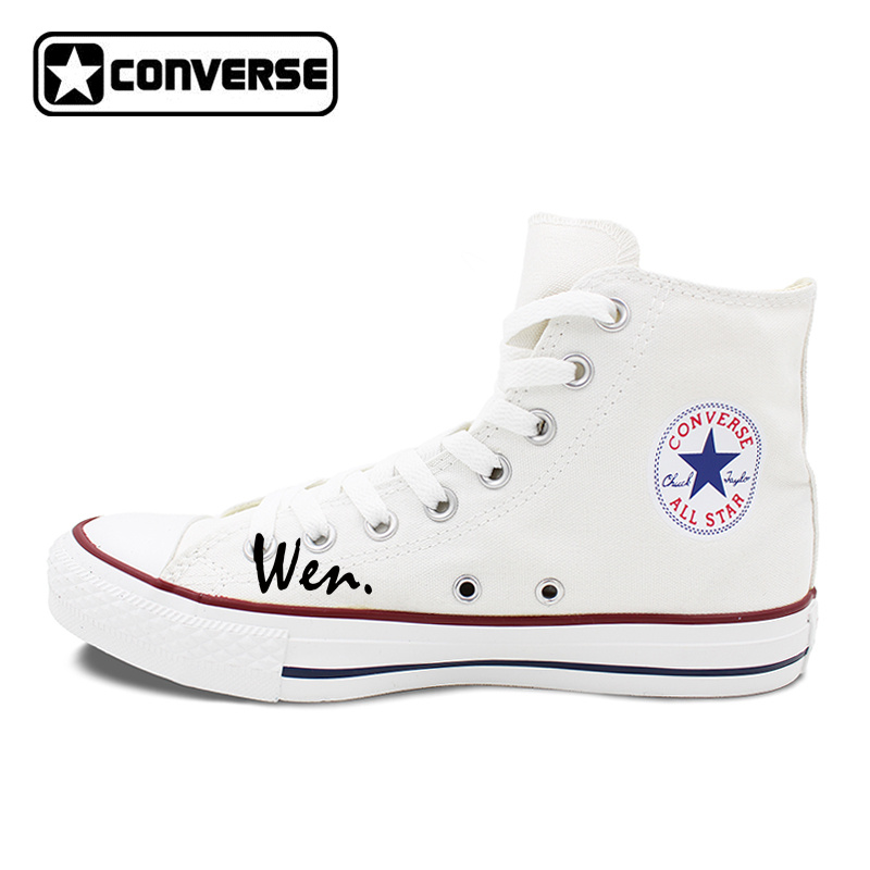 Original Hand Painted Shoes Woman Brand Sneakers Design Poker King Queen Heart Q K High Top Converse Chuck Taylor