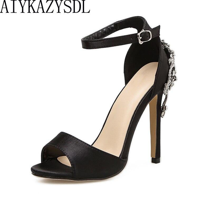 AIYKAZYSDL Sexy Luxury Fashion Women Pumps Peep Toe Ankle Strap Back Rhinestone Crystal High Heel Sandals Party Wedding Stiletto стоимость