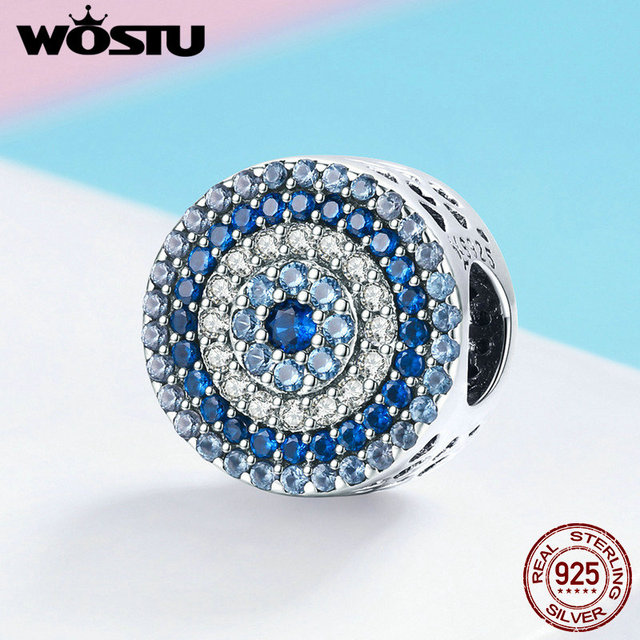 WOSTU 2019 Top Sale 925 Sterling Silver Samsara Eye Charms Bead fit Anniversary Brand DIY Bracelet Bangle Jewelry Gift FIC915