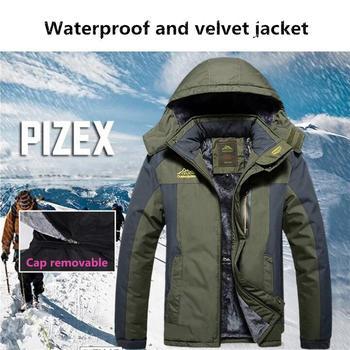 Mounchain 2018 Men's Winter Outdoor Hooded Fleece Thickened Windproof Waterproof jacket  Camping Trekking ski jackets M-9XL
