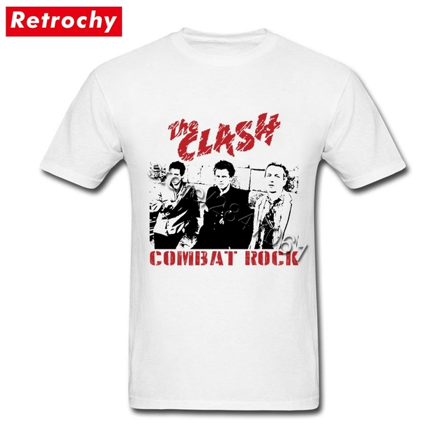 89d2ba8eafe Distressed the clash Shirt Combat Rock Tshirt Men Awesome Concert Tees  Graphic Cotton T Shirt Tops Plus Size Rock Clothing