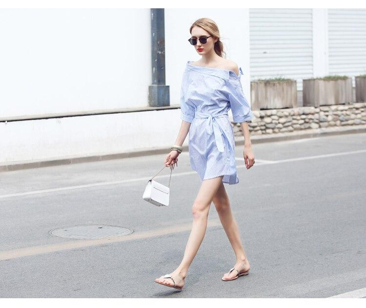 2017Fashion one shoulder Blue striped women shirt dress Sexy side split Elegant half sleeve waistband Casual beach dresses 6