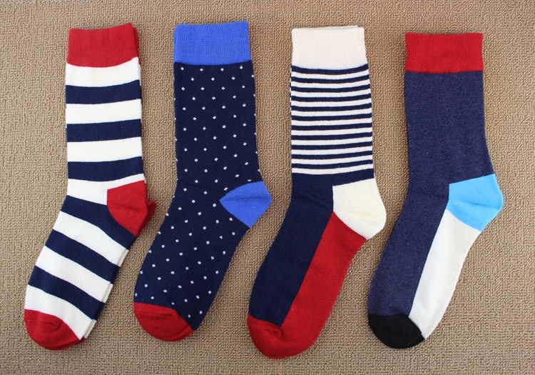 4 color high quality combed cotton autumn winter design stripes comfortable casual men long happy brand socks with college style