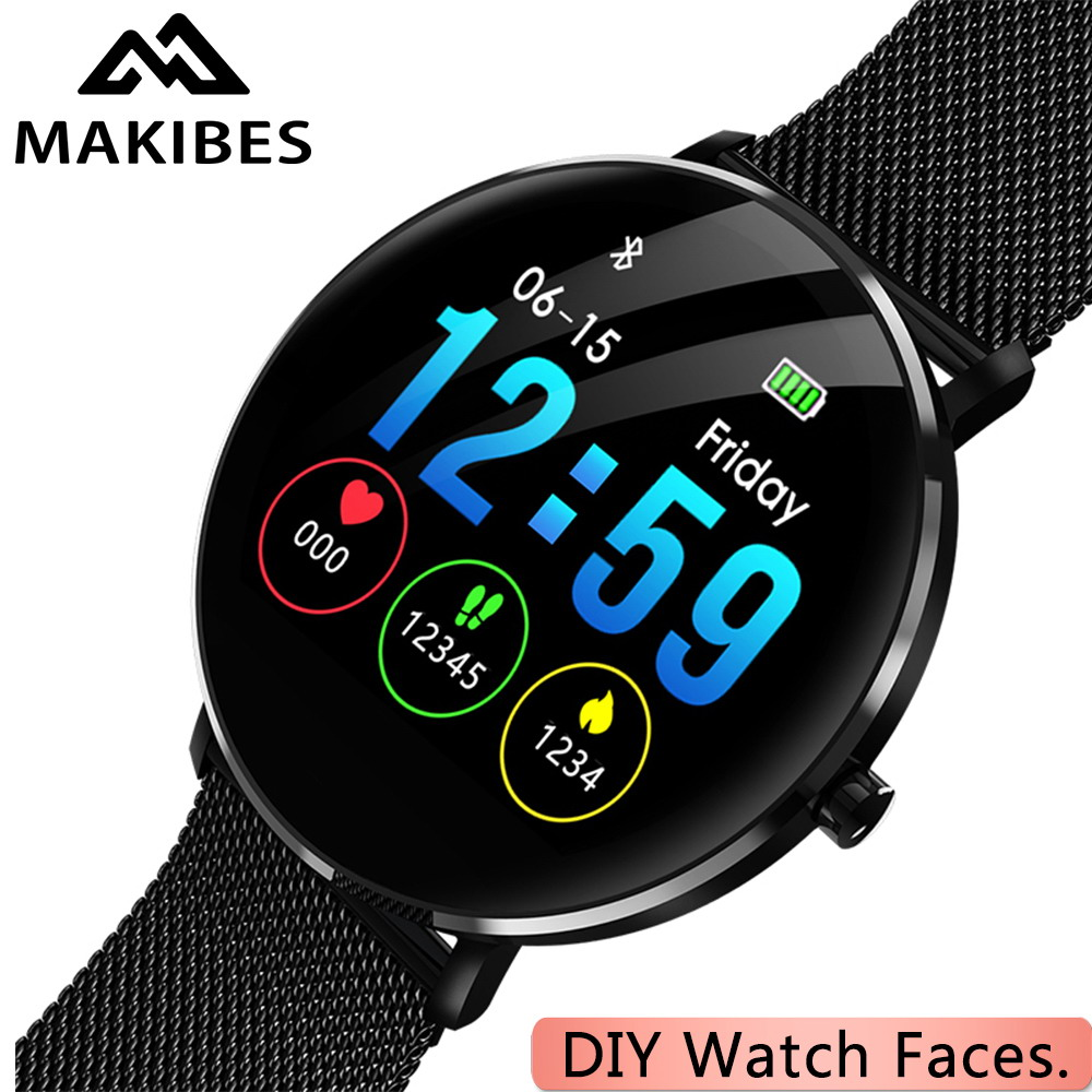Гарантия 1 год MAKIBES L6 DIY циферблат Smartwatch 30 дней в режиме ожидания IP68 водонепроницаемый 250 mAh Батарея Фитнес трекер умные часы