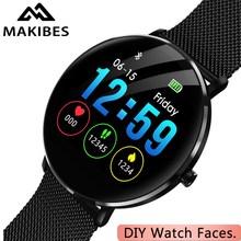 1 jaar Garantie MAKIBES L6 DIY Horloge gezicht Smartwatch 30 dagen Standby IP68 waterdichte 250mAh Batterij Fitness tracker Smart watche