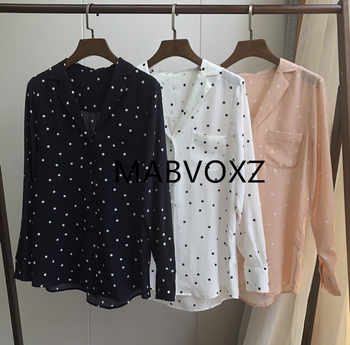 Women Shirt 100% Silk 18mm Spring New 2019 Lady Blouse Jupe Woman Shirts Long Sleeve Vintage Simple Desgin Dot print - Category 🛒 Women\'s Clothing