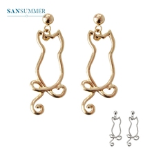 2017 New hot 1PC Fashion jewelry form Sansummer Hollow Cat Feautiful Sporty Casual Personality Popular Drop Earrings