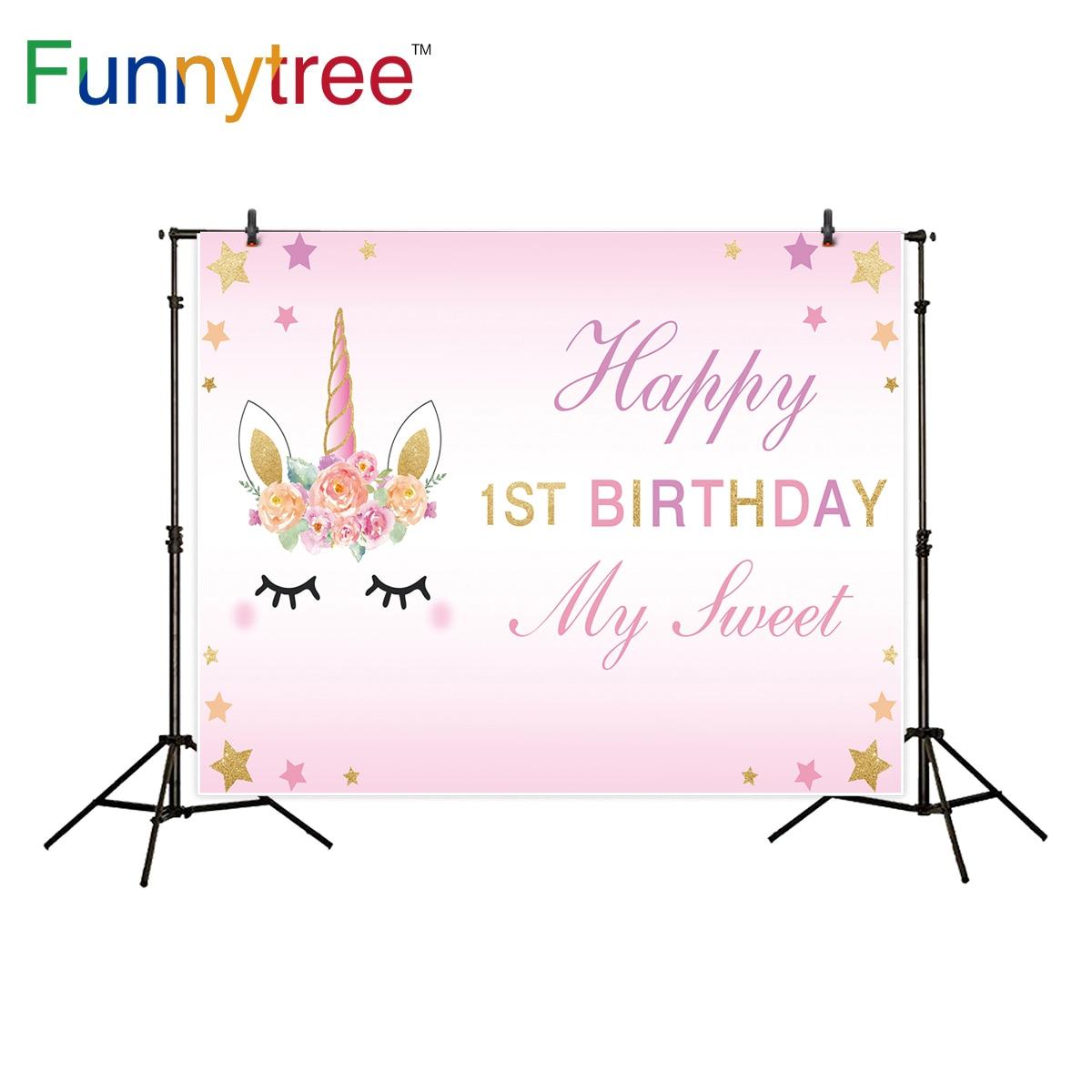 Photo Studio Background Humor Sunsfun 7x5ft Pink Unicorn Photography Backdrop Birthday Flower Banner Dessert Table Background Photobooth Photocall 220x150cm
