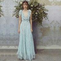 Deep V Blue Ruffles Women dress 2018 summer new lady elegant slim high waist floral chiffon dresses top quality