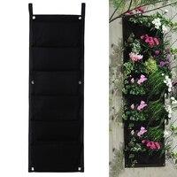 Black 6 Pockets Flower Pots Vertical Planter On Wall Hanging Felt Gardening Plants Green Field Grow