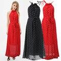 Летом женские длиннее шифоновое платье макси 2015 мода дамы летом горошек холтер элегантный богемный пляж платье сарафан 3315