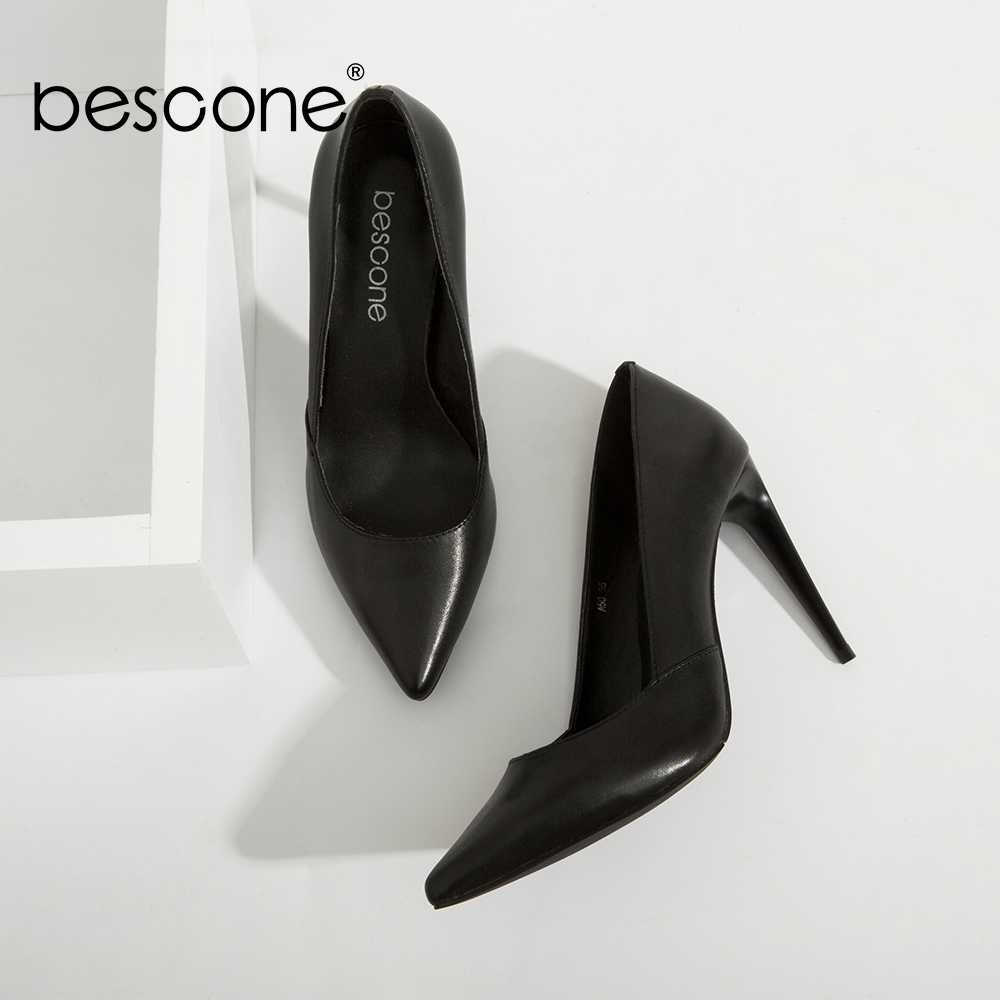 BESCONE High Quality Lady Pumps Black Genuine Leather Super High Thin Heels Party Pumps Sexy Pointed