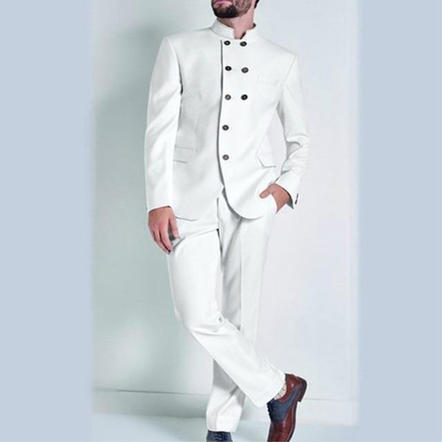 White Groom Men S Tuxedo Coat Pants Designs Double Breasted Blazer