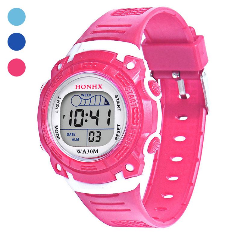 Children Kid's Electronic Watch LED Round Dial With PU Band Wrist Watch For Boys Girls Gifts LXH