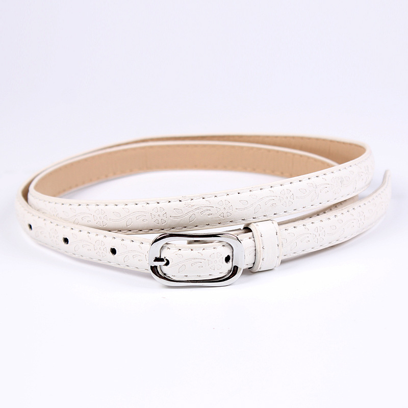 Badinka 2018 New Thin White Black Red Yellow Faux PU Leather Belt Waistband Female Curved Flower Narrow Belts for Women Jeans