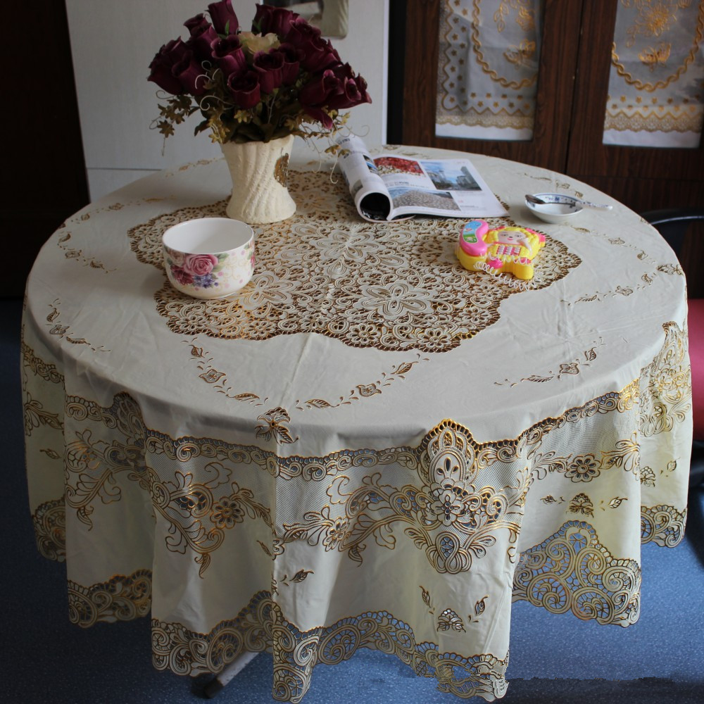 Europe Style PVC Round Table Cloth Table Cover R182CM Hotel Restaurant Tablecloths Coffee Table Home Party Wedding Table Cloth
