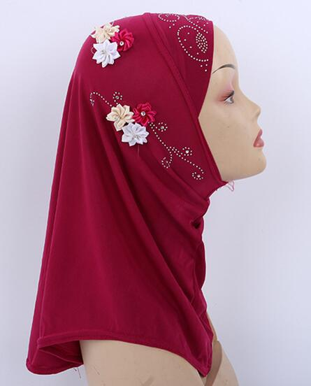 H1231 Schöne Kleine Mädchen Hijab Mit Blumen Und Strass, Mischfarben, Schnelle Lieferung
