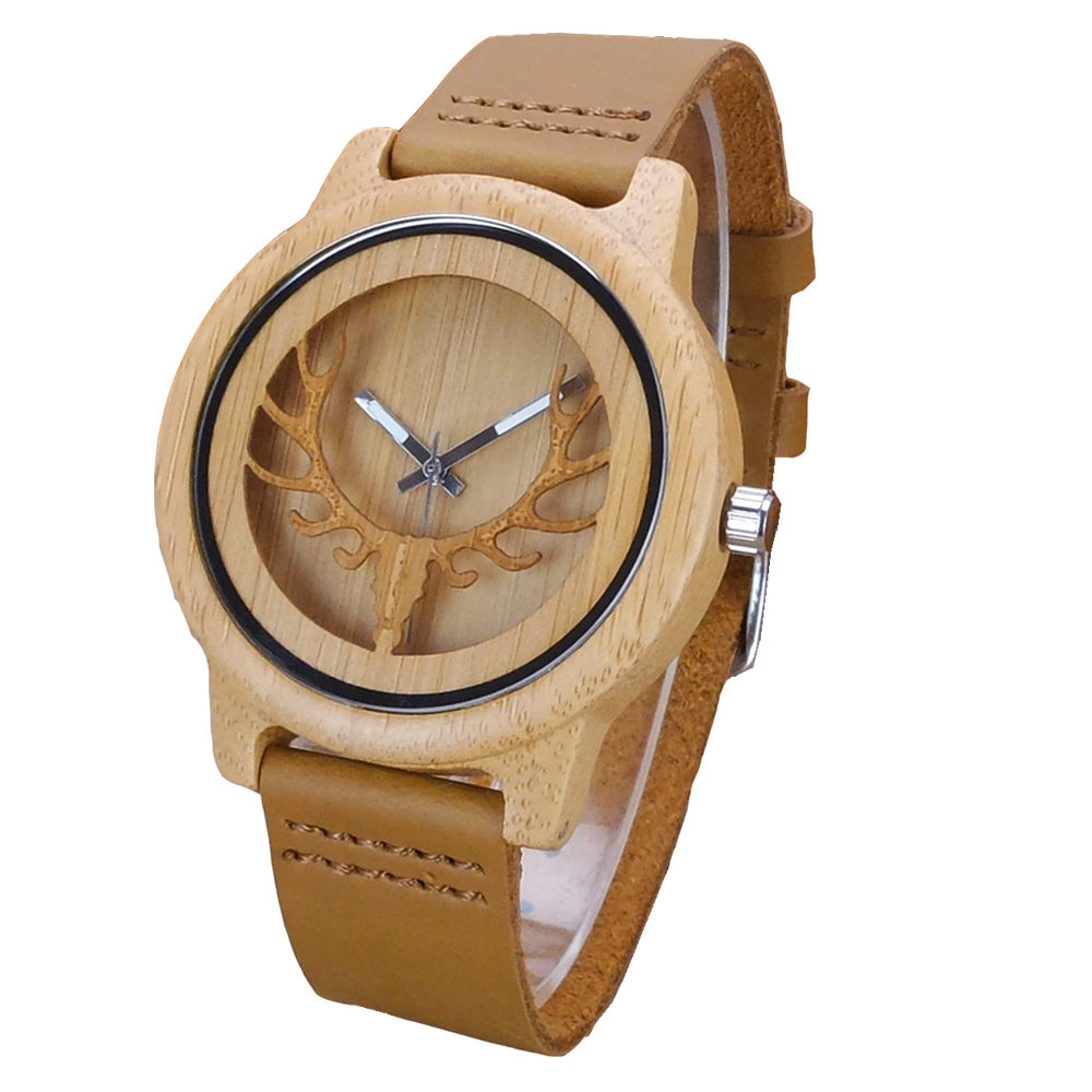 Aismei Mens Deer Head Design Buck Bamboo Wooden Watches Luxury Wooden Bamboo Watches With Leather Quartz