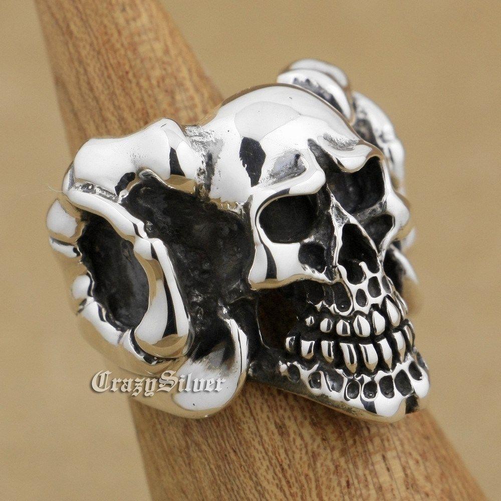Здесь можно купить  925 Sterling Silver Argali Skull Mens Biker Rocker Punk Ring 9W002 US Size 8 to 14  Ювелирные изделия и часы
