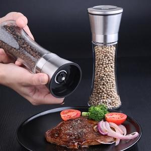 Image 4 - Moinho de sal e pimenta de aço inoxidável premium moedor de sal e pimenta abanadores corpo de vidro especiarias com rotor cerâmico ajustável