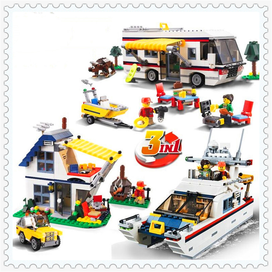 613Pcs City Creator 3In1 Vacation Getaways Model Building Block Toys KAZI 3117 Educational Gift For Children Compatible Legoe decool 3115 city creator 3 in 1 future flyers robot 237pcs building block educational toys for children compatible legoe