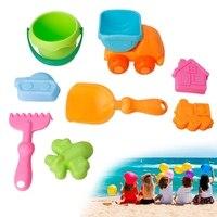 8Pcs Set Baby Soft Beach Toys Set Kids Bath Bathtub Sand Toy Car Bucket Shovels Gift