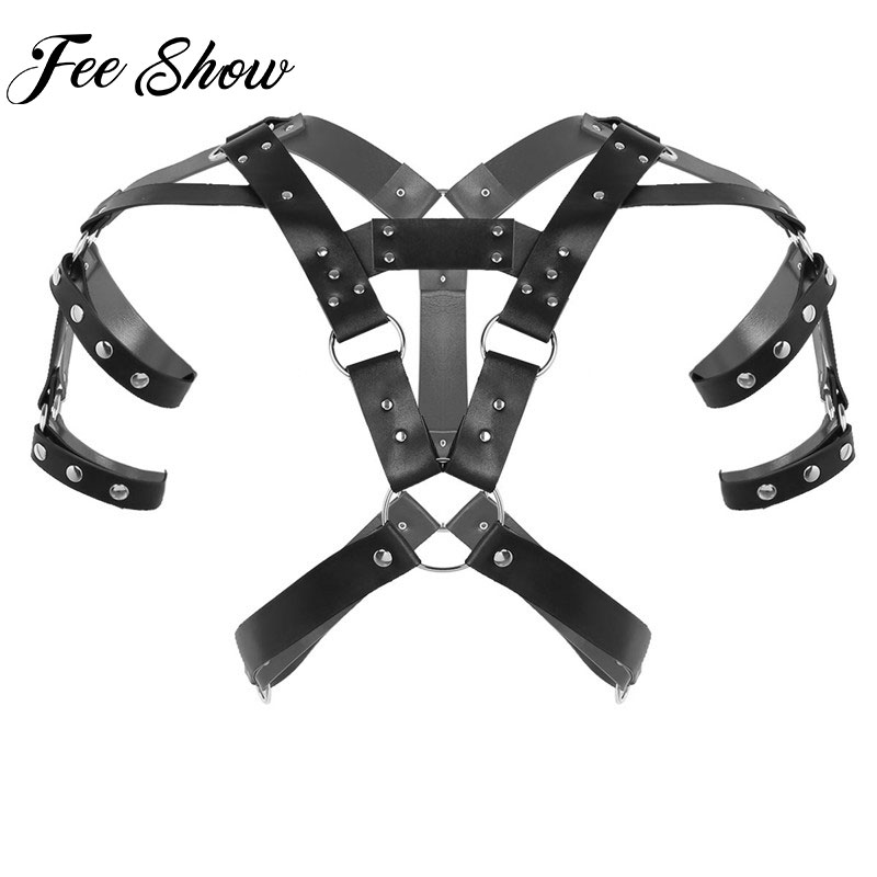 Male Body Top Harness Men Gothic Faux Leather Body Chest Bondage Harness & Shoulder Harness Armors Buckles For Cosplay Costume