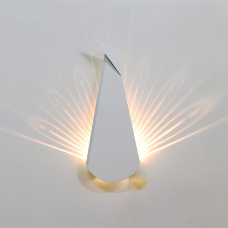 Creative Peacock Tail Nordic Wall Lamp Modern Indoor Decorate Led Wall Light for Bedroom Study Hallway Corridor Light Fixtures