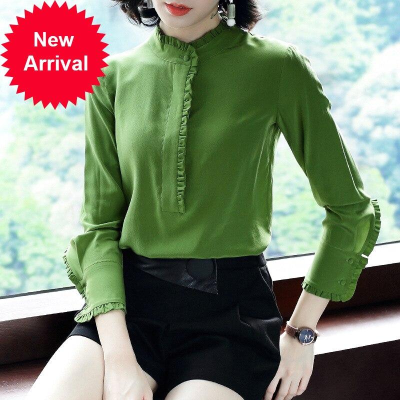 Super Qualité 2019 Printemps Nouveau Tempérament Originale Lourde Vraie Soie Chemise Blouse P7342 Camisa Feminina blouses chemises femmes tops