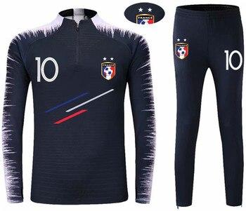 2018 Yeni Erkek Futbol Uzun Kollu Fransa 2 Yıldız Eğitim Formaları gibi MBAPPE GRIEZMANN çocuk futbolu Eşofman spor takımları