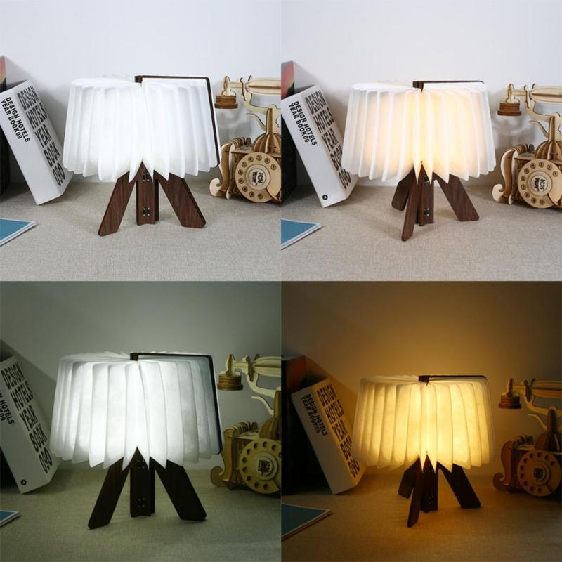 Innovative USB Rechargeable LED Foldable Wooden Book Shape Desk Lamp Nightlight Booklight for Home Decor White/Warm White Light 3pcs lot wooden foldable led nightlight booklight