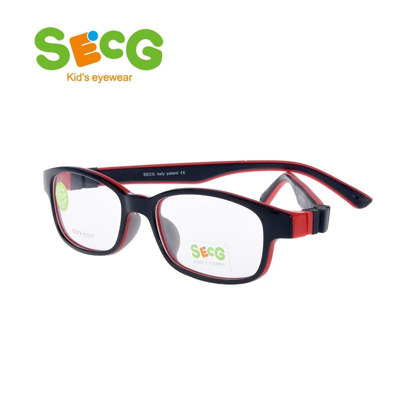 SECG Cute Children Optical Glasses Frame Soft Ultralight Kids Frame Glasses Boys Girls Optic Hyperopia Myopia Strap Prescription