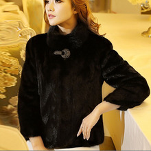 Большой размер 5XL 6XL, куртка-болеро из искусственного меха для женщин, теплое зимнее пальто из кроличьего меха, норка куница, шуба, пальто с воротником-стойкой