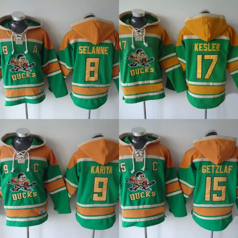 Ice Hockey Jersey Hoodies Mighty Ducks Jersey 8 Selanne 9 Paul Kariya 15 Getzlaf  17 Kesler Hoodie Sweater Hockey Jersey S-3XL 50 2015 ice hockey jersey