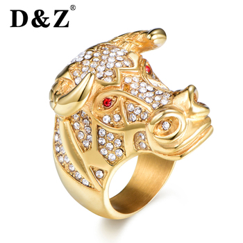 5c742968dd04 D   Z Animal Toro cabeza anillo hombres Color oro 316L Acero inoxidable  Micro pavé diamantes de imitación Hip Hop anillos para rapero Rock de  joyería para ...
