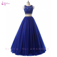 Waulizane Scalloped A Line Royal Blue Organza Quinceanera Dress Floor Length Elegant Ruffles For 15 Years