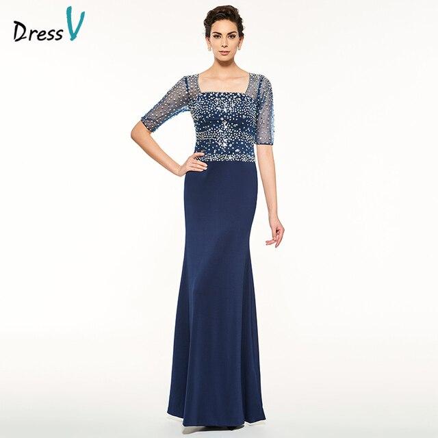 Dressv Sheath Long Blue Mother Of The Bride Dress Square Neck Half Sleeves Beading Sequins Custom Mother Of The Bride Dress