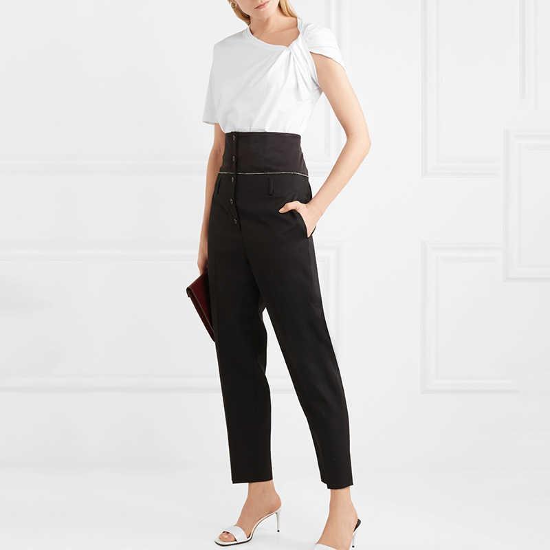 Deuxtwinstyle ruché basique t-shirt pour les femmes à manches courtes grande taille irrégulière blanc t-shirts Top 2019 été mode nouveaux vêtements